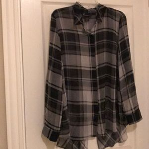 Lane Bryant LS Plaid Top